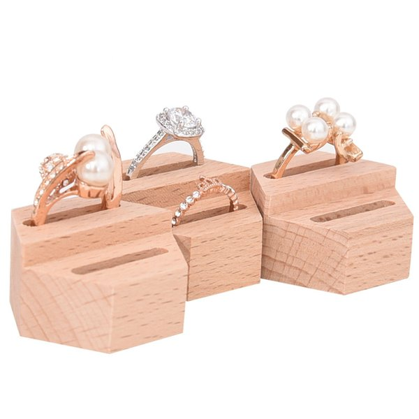 [DDisplay]Wedding Hexagon Rings Holder Display Wooden Couple Rings Display Stand Creative Engagement Lover Rings Showcase Windows Display