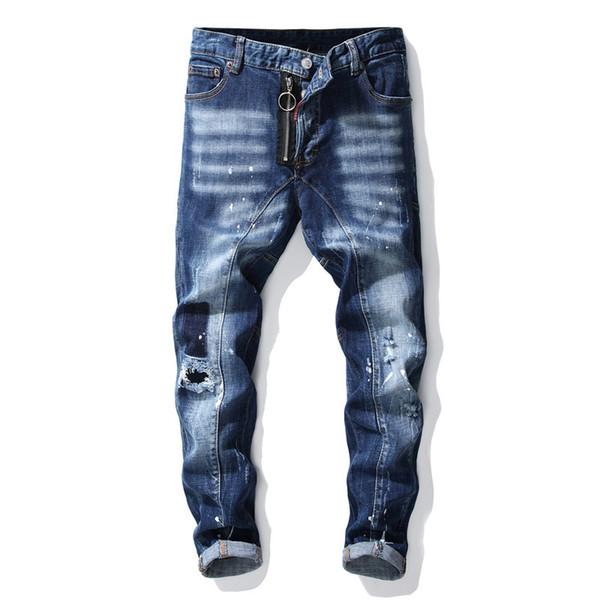 Denim Jeans Hommes Designer Droite Marque Maigre Grande Taille Trou Usé Toute La Saison Casual Style Pantalon À La Mode