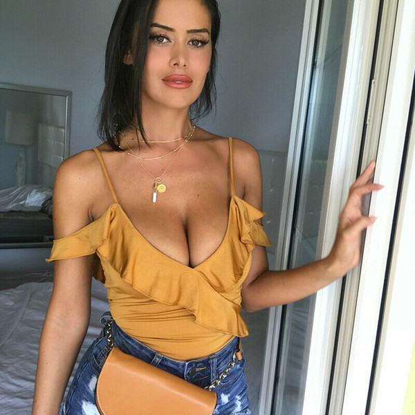Mode féminine volantée à bretelles en satin de soie Vogue Bodysuit Sexy Leotard Barboteuses solide Bodys plage Clubwear Pantalon 2019 Été