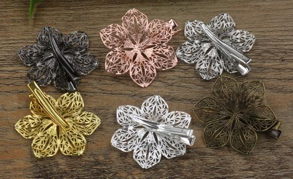 20pcs 35/40mm Rose Gold French barrettes flower hair pin vintage Alligator clip metal hairpin silver hairclip antique hairwear jewelry