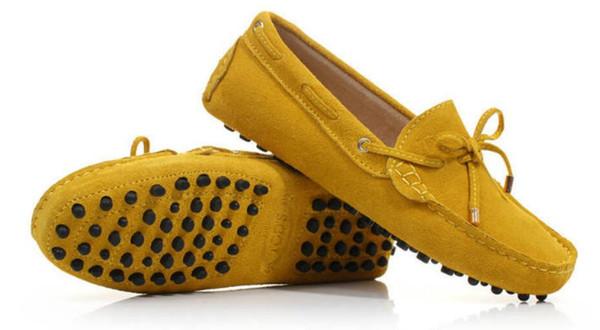 Zapatillas mocasines transpirables de gamuza de cuero genuino de verano para hombre Zapatos mocasines 10 colores