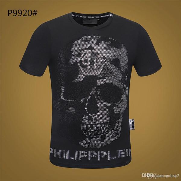 2019 Philip Düz Yaz erkek t-shirt Moda Kısa Kollu TShirt erkek Baskı şeytan Camisetas Yaz Kısa Kollu T Shirt O-Boyun