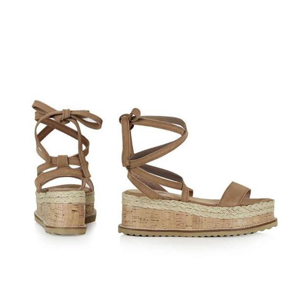 wcm9930 / Summer White Wedge Women Sandals Open Toe Gladiator Sandals Women Lace Up Women Platform Sandals Casual Shoes Espadrilles 05