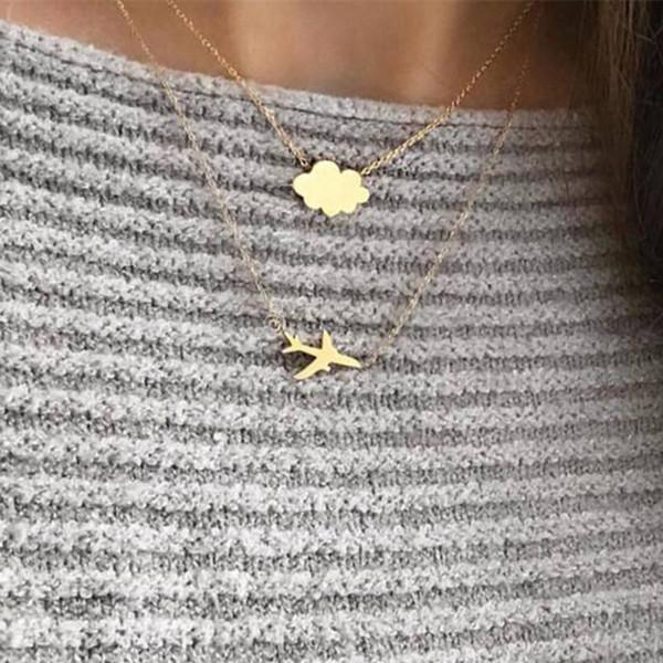 DIEZI Collar de Cadena de Oro de La Vendimia para Mujeres Bohemia Mulitlayer Aeroplano Nube Encanto Declaración Gargantilla Collar Joyería Del Partido