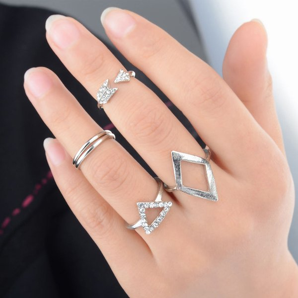 New Stylish 5 Pieces One Set Arrow Triangle Joint Suit Knuckle Finger Rings For Women Gold Silver Colors RING-0235