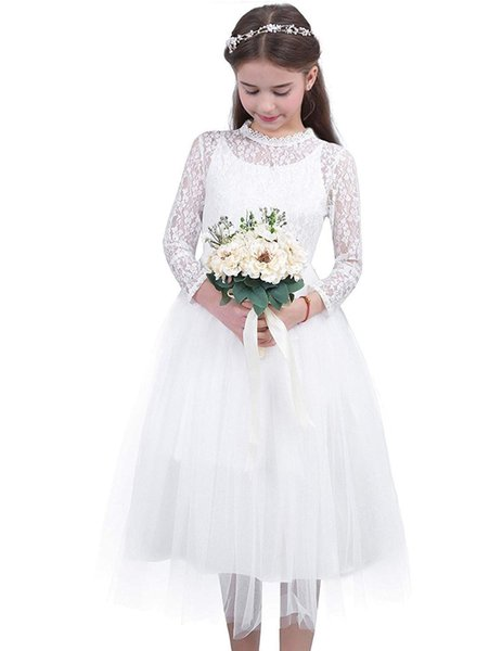 Girls Floral Lace White First Communion Flower Girl Dress Long Sleeve Party Wedding Bridesmaid Gowns