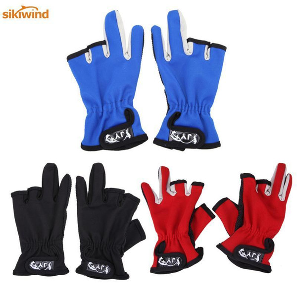 Anti Slip Slip-resistant 3 Low-cut Fingers Fishing Gloves Tackle Finger Protector Skidproof Gloves For Fishing Outdoor Sports