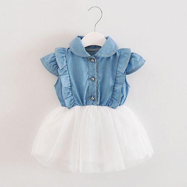 USPS baby girl baby boy Toddler Infant Girls Denim Tutu Tulle Princess Dresses Sundress Outfits 2019 envío de la gota regalo