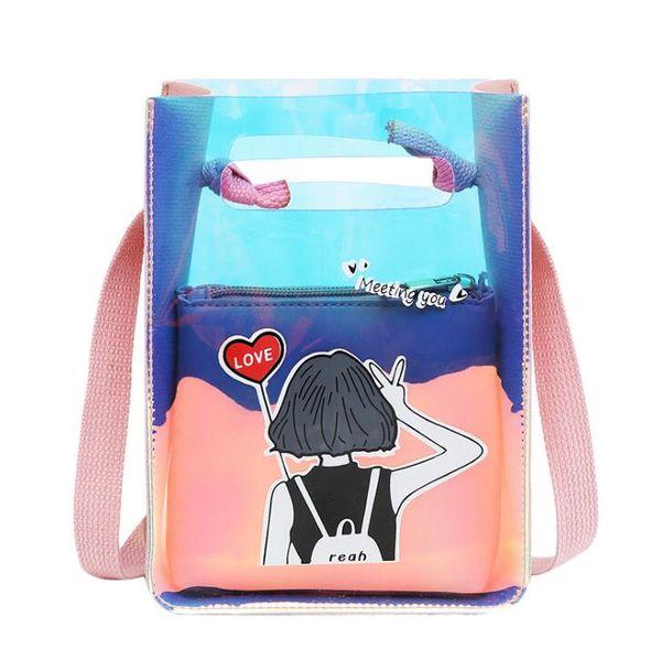 Summer new one-shoulder diagonal package beach cartoon pattern transparent ladies change mobile phone packet Cross Body