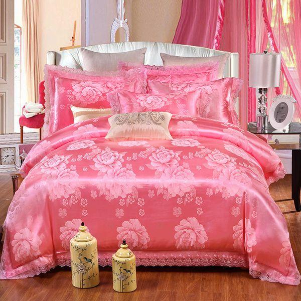 SILIKOLOVE 4pcs/Set Satin Jacquard Pink Silk Luxury Bedding Sets Cotton Duvet Cover Set Bed Linen Linings Wedding Home Textile