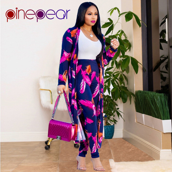 Pinepear Fashion Women Leaf Print Ol Pant Suits New Winter X-long Coat Office Lady Business Formal Party 2 Two Piece Set Q190521