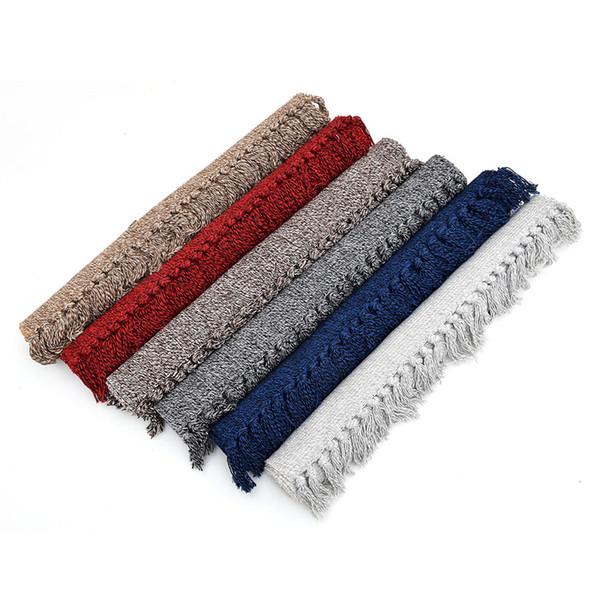 Tappeto in cotone, tessuto a mano bianco / nero / rosso / blu / marrone Tassels Throw Rugs Tappeti per zona interna per soggiorno / camera da letto / cucina / corridoio