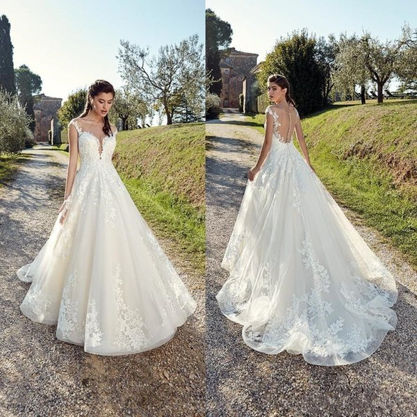 Discount 2019 A Line Country Wedding Dresses Sheer Neck Summer