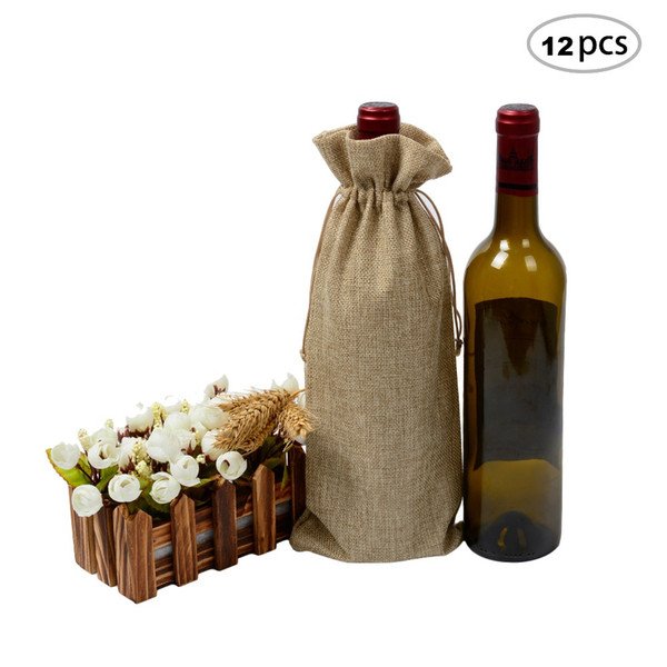 12pcs Jute Wine Bag 5.9x13.7 inches Hessian Wine Bottle Gift Bags with Drawstring Wine Bottle Cloth Jute Gift Wrapping Bag