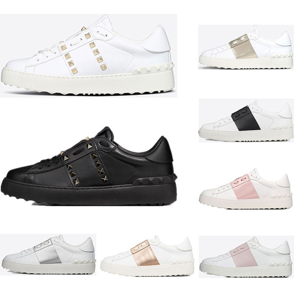 Valentino 2019 New arrivel Top Designer Chaussures Blanc Mode Hommes Femmes En Cuir Casual Ouvert Bas Baskets Sport Taille 35-46 Avec la Boîte
