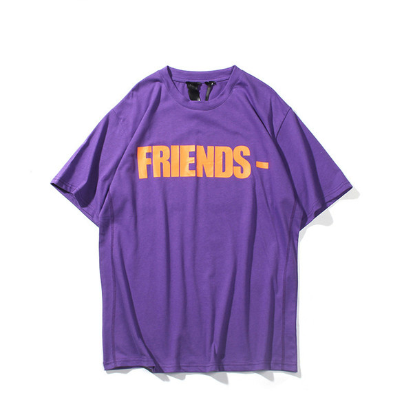 2019 New Vlone Friends Skateboard T Shirt Uomo Donna Purple Red Hip Hop T Shirt Vlone Mens Designer T Shirt Tees