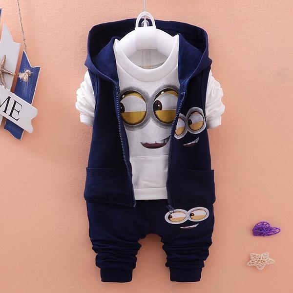 Baby Girls Boys Minions Suits Infant Newborn Clothing Kids Hooded Vest T-Shirt Pants 3Pcs/Set Spring Autumn Cartoon Cotton Children Clothes