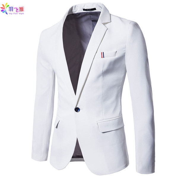 2019 Spring Slim Fit Casual Blazers Men Single Button Men Suit Jacket Non-iron Blue White Wedding Formal Blazer