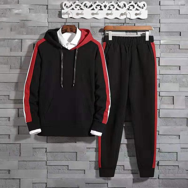 Erkek Tasarımcı Lüks Hoodie Eşofman Çizgili Kollu Mektuplar Baskılı Mens Joggers Hoodie Sweaerst Rahat Eşofman Takım Elbise Boyutu M-3XL