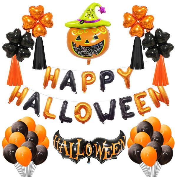 Palloncini di Halloween Set di zucche Foglio di alluminio Decorazione per feste a casa Lettera Fantasma Zucca Pipistrello Set di palloncini Hallowmas Palloncini Giocattoli BH2068 ZX