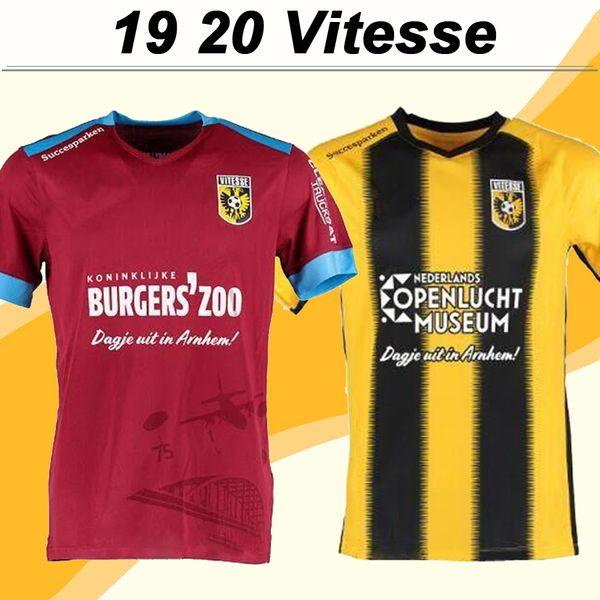 19 20 SBV Vitesse Herren Fußball-Trikots New Home Gelb Schwarz Auswärts Rot Erwachsene Fußball-Hemden mit kurzen Ärmeln Uniformen Voetbalshirts