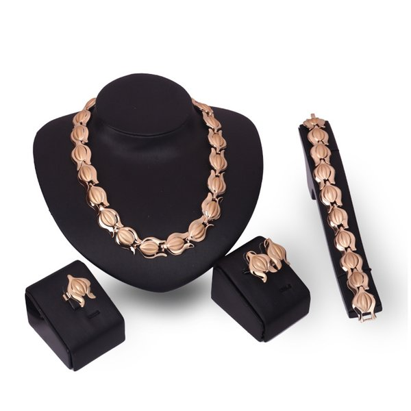 Transmit love gold colour Dress Bridal Jewelry sets for woman Necklace/Earrings/Ring/Bracelet Party Prom Wedding jewelry gifts