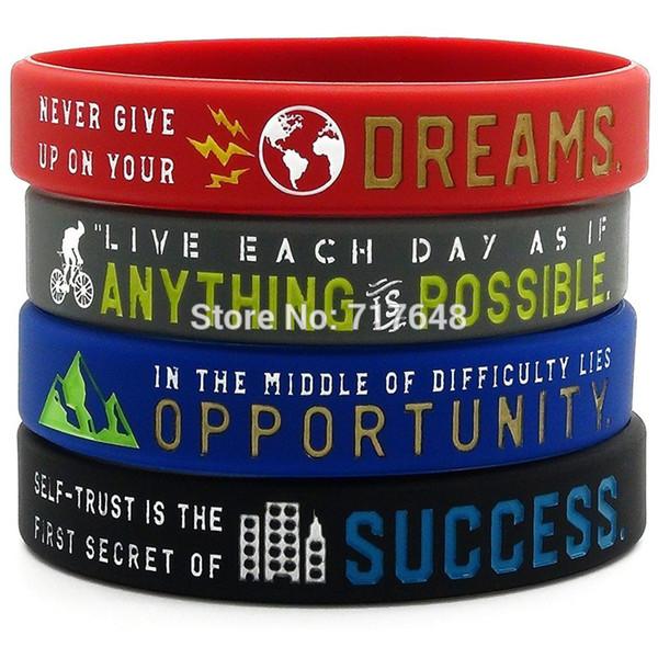 40PCS tutto è possibile, Successo, Sogno, braccialetti in silicone Opportunità wristband trasporto libero da ePacket A