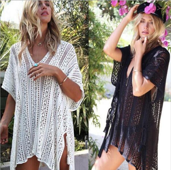 2019 Novas mulheres Swimsuit venda quente Crochet Malha Borla Gravata Beachwear Beach Cover Up oco out vestido de praia