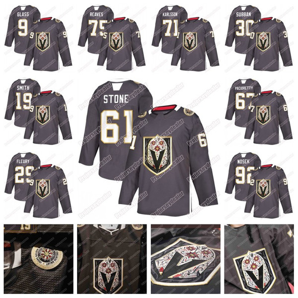 Mark tone vega golden knight latino heritage night jer ey marc andre fleury jonathan marche ault william karl on pacioretty reave tuch, Black;red