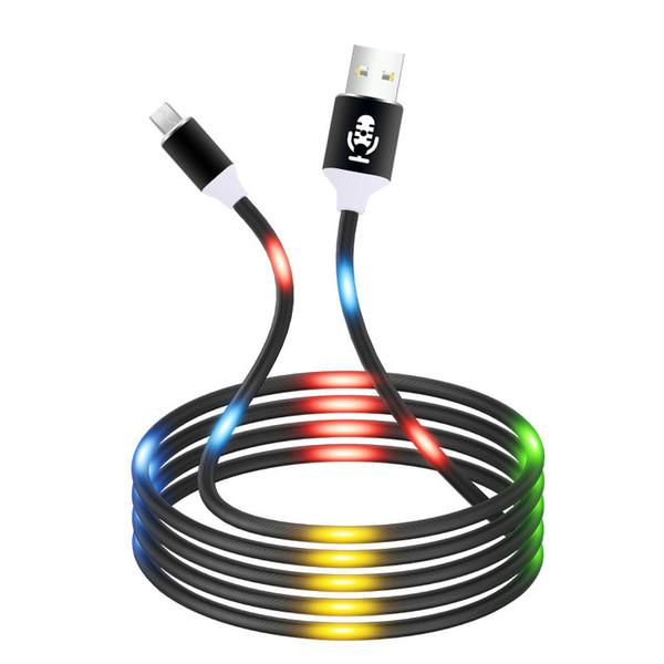 Control de volumen Luz LED Flash Datos Cargador micro USB Cable Android para Samsung S5 S6 S7 J5 J7 Xiaomi Redmi Note 5 Cable de carga