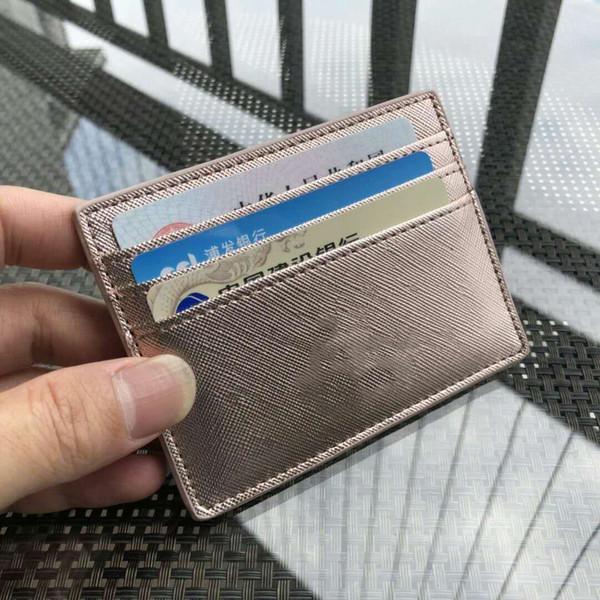 Diseñador de la marca glitter titulares de tarjetas mini carteras cortas Money Clip mujer PU cuero 5 color