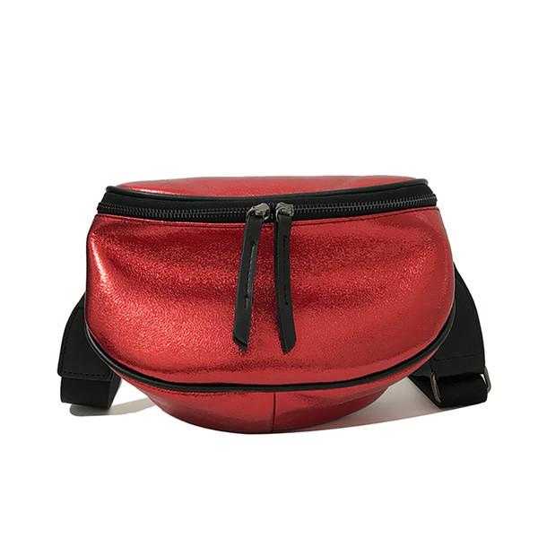 cross body Waist Bag Tide Shoulder Bags Women Bag Simple Fashion Wide Shoulder Strap Bright leather Zipper Messenger Bags A1