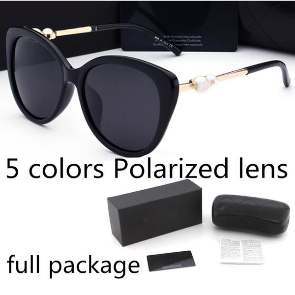 top popular Fashion pearl Designer Sunglasses High Quality Brand Polarized lens Sun glasses Eyewear For Women eyeglasses metal frame 5 color 2039 2021