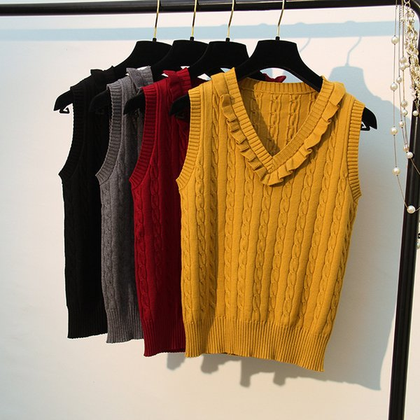 New! High Quality Spring Autumn Cashmere Sweater Vest Women Knitted Ruffles Splice Tank top Female Sleeveless Knit Pullovers 299
