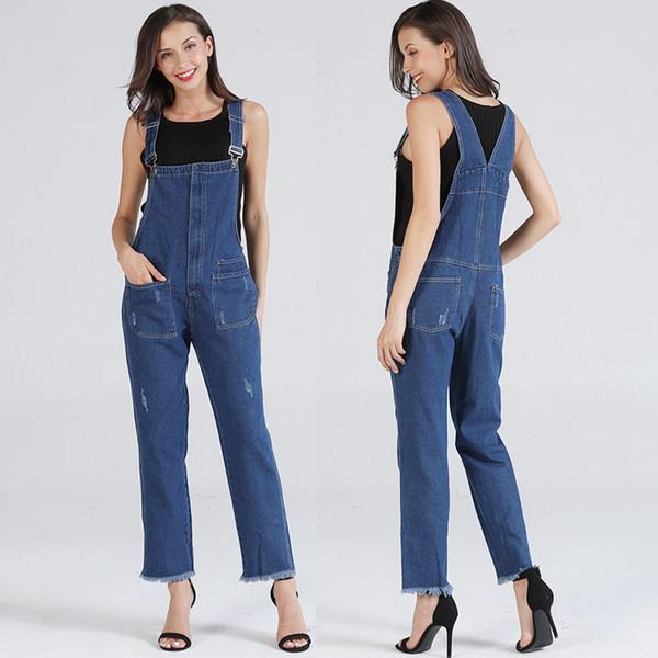 660c286feef0 Женский комбинезон джинсовые комбинезоны джинсовые нагрудник эластичные  брюки Женские свободные подтяжки джинсы комбинезон девушки комбинезоны  джинсы