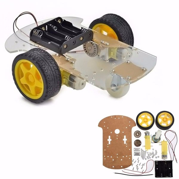 1 Set 2WD Mini Rotonda Double-Deck Smart Robot Car Chassis Kit FAI DA TE Per Arduino 15x 14x 8 CM Robot Intelligente Kit FAI DA TE Car Chassis