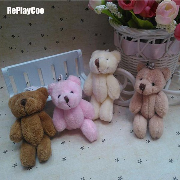 25pcs/lot Kawaii Small Joint Teddy Stuffed With Chain 8cm Toy Teddy-bear Mini Bear Ted Bears Plush Toys Gifts 083 Q190521