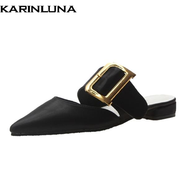KarinLuna Chique Sexy Moda Chinelos de Verão Casual Apontou Toe Mulheres Sapatos Ao Ar Livre Elegante Mulher Sapatos Mulas Sandálias Flat