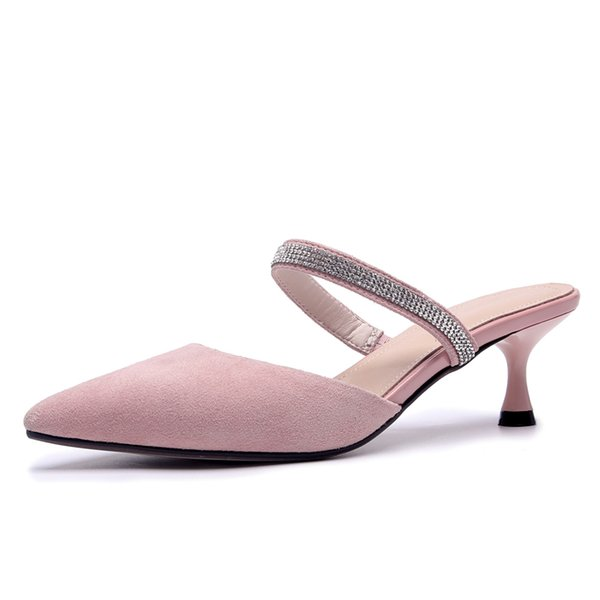 Pink Leather Women Mules 5.5 cm High Heels Summer Dress Shoes Pointed-toe Woman Slippers Party Pumps Box packing P-18312