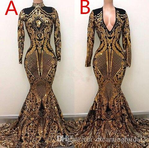 Gold Mermaid Prom Dresses 2019 New Long Sleeve V Neck Two Style Sweep Strain Formal Evening Dress Party Gowns robes de soirée 2K19