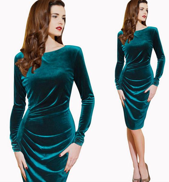 Women Velvet Dress Long Sleeve Slim Crew Neck Knee Length Slim Ruched European style S M L XL XXL XXXL Bodycon Dresses