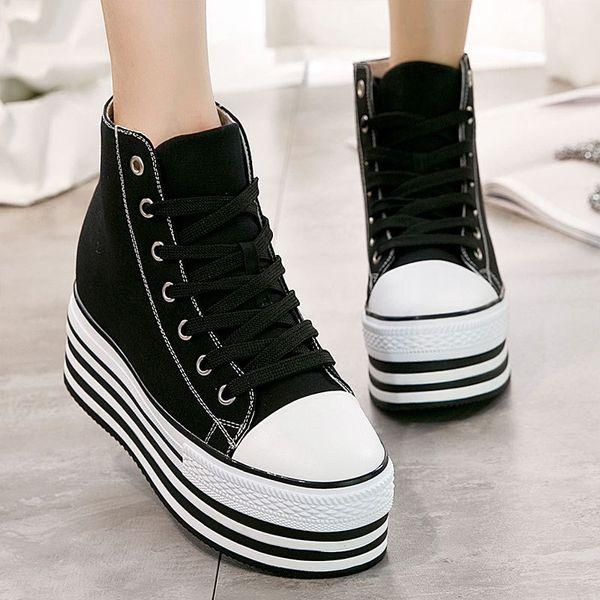 High-top Vulcanized Cunhas Sapatos de Lona Mulher Plataforma Sneakers Sapatos Hidden Heel Altura Crescente Apartamentos Casuais B083