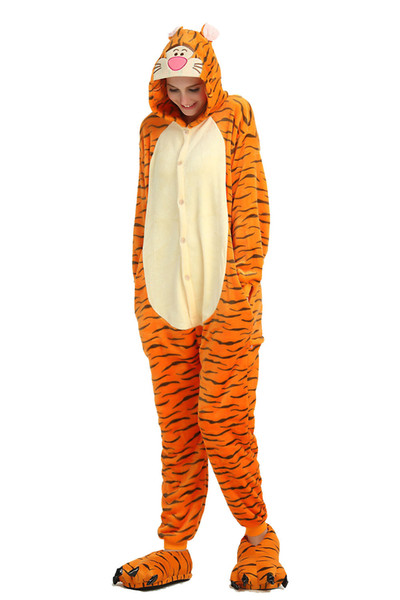 Orange Tiger Pajamas for Adults Cartoon Long Sleeves Hooded Unisex Home Wear Mascot Costumes Sleep Wear Night Party Wear Warm