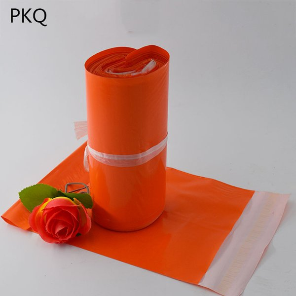 Turuncu Poli Posta Yapışkanlı Zarf Çanta Nakliye Ambalaj Torbaları Plastik Mailer Toptan Düğün Hediye Paketi
