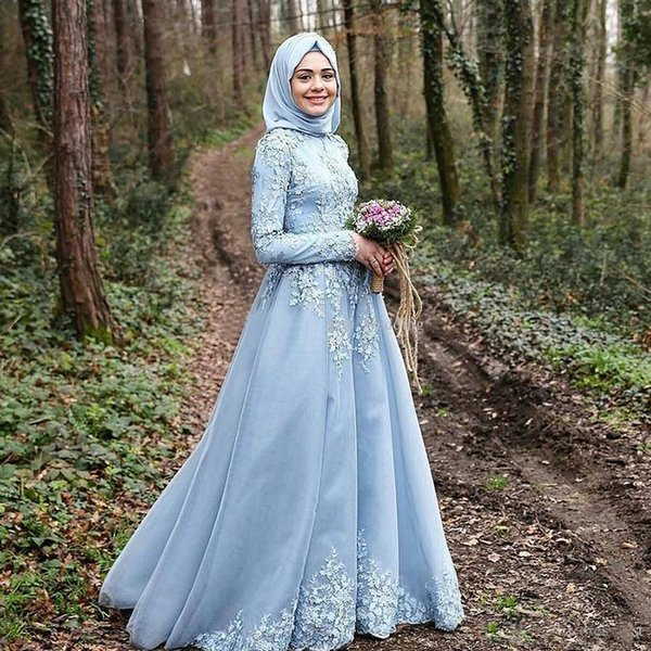 vestido branco Sky Blue Long Sleeve Muslim Evening Dresses robe de soiree courte Hijab Turkish Evening Gowns with Lace Custom Made