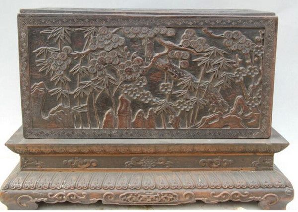 """NEW """"17"""" Chinese dynasty palace Wood square plum blossom book casket box"""
