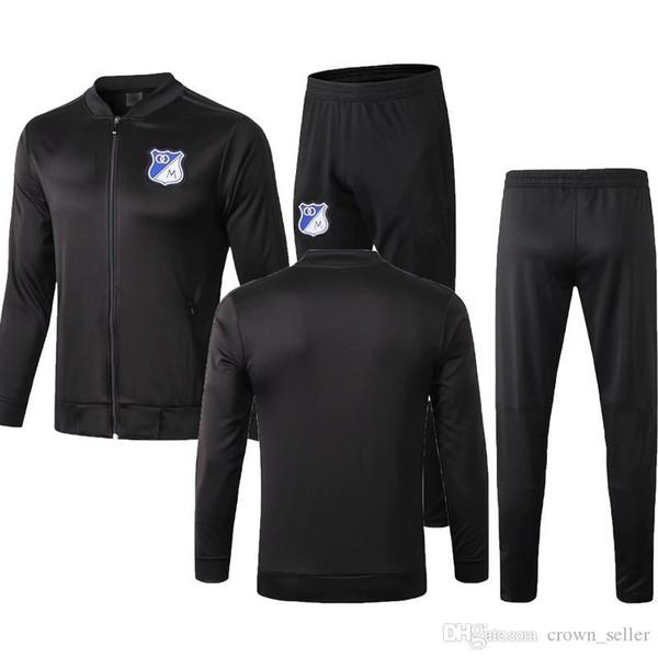 новый 2019 Millionarios Богота футбол куртки костюм A. Del Valle Москуэр H. Rojas Салазар черная полной молния футбол куртка спортивного