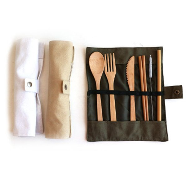 Wooden Dinnerware Set Bamboo Teaspoon Fork Soup Knife Straw Catering Cutlery Set with Cloth Bag Kitchen Cooking Baby Feeding Tools ZZA1148