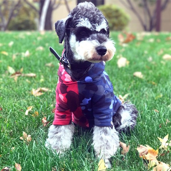 Dog clothes Tide brand Camouflage shark printing Pet hoodie Cotton Plus velvet Keep warm Hip hop Dog jacket with hat new style