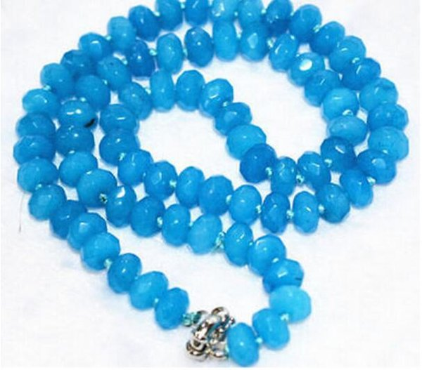 "FREE SHIPPING ++ + - NEW 5x8mm blue Brazilian new Faceted Gem Abacus Beads Necklace 18""AAA"